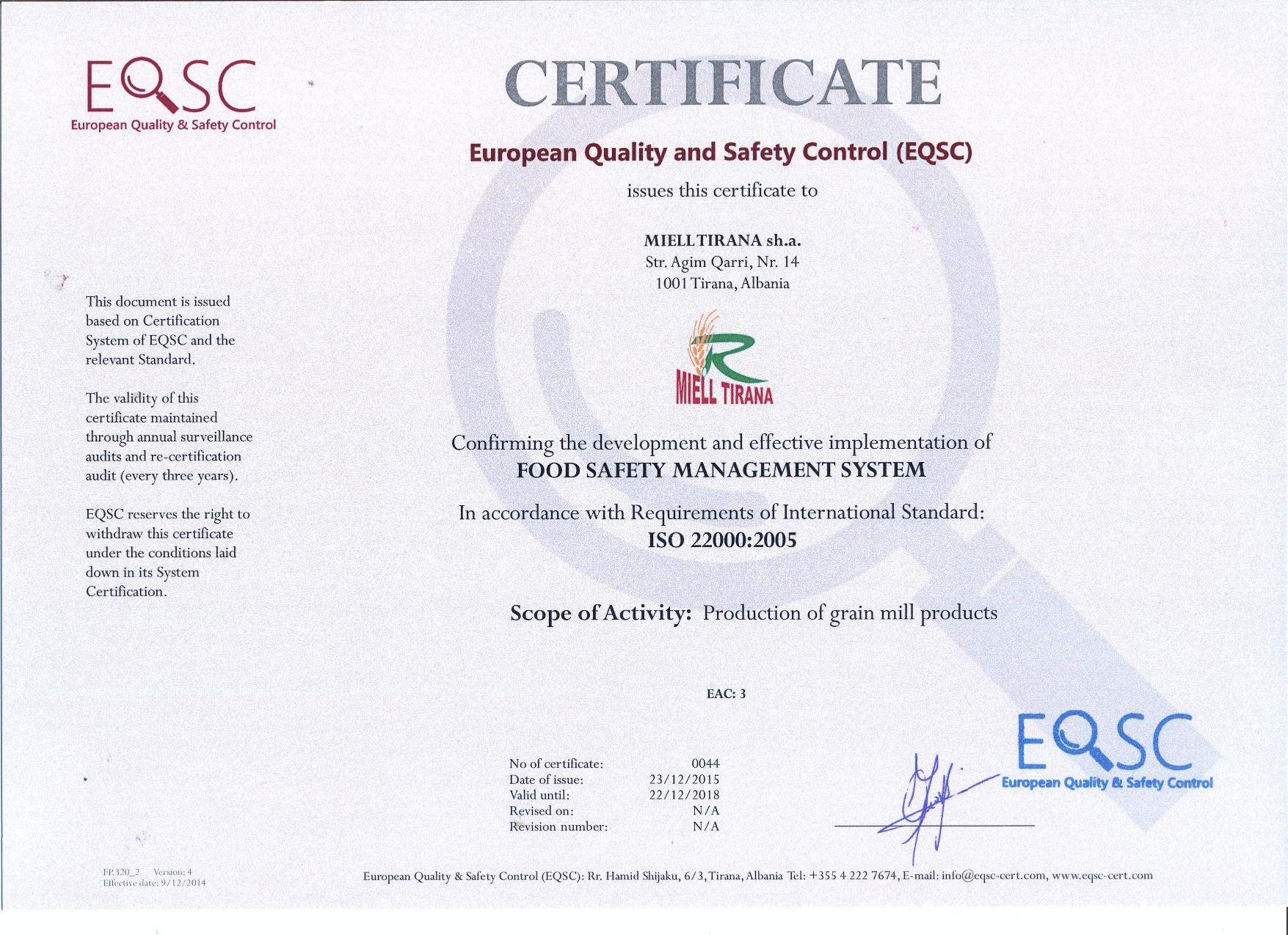 Certifications Miell Tirana